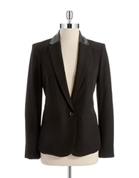 Dkny Faux Leather Collared Blazer Black