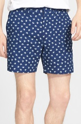 Marc By Marc Jacobs Palm Print Chambray Shorts Indigo Multi