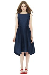 Women's Alfred Sung Bow Back Dupioni Fit And Flare Midi Dress Midnight