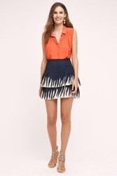Anthropologie Smocked Mini Skirt Navy