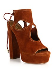 Aquazzura Sexy Thing Cutout Suede Tie Back Platform Sandals Luggage