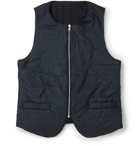 Oliver Spencer Quilted Shell Gilet With Cotton And Wool Blend Reverse Blue