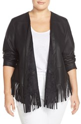 Plus Size Women's Bernardo Fringe Faux Leather Jacket