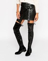 Glamorous Black Flat Over The Knee Boots Black Mf