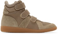 Maison Martin Margiela Taupe Velcro High Top Sneakers