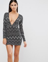Motel Lynette Dress With Plunge Neck In Zigzag Glitter Print Silver