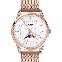Henry London Unisex Richmond Moonphase Stainless Steel Bracelet Watch White Rose Gold