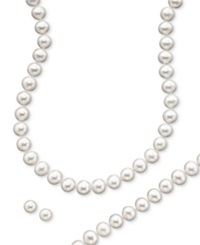 Macy's 14K Gold Cultured Freshwater Pearl Necklace Earring And Bracelet Set