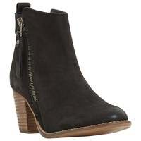 Dune Pontoon Stacked Heel Ankle Boots Black