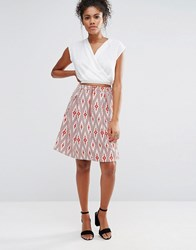 Glamorous Aztec Print Midi Skater Skirt Red White Aztec Multi