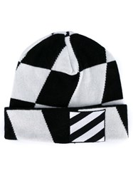 Off White Diagonal Stripe Beanie Black