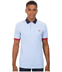 Fred Perry Color Block Pique Shirt Light Smoke Oxford Men's Short Sleeve Knit White