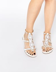 Forever Unique Calipso Embellished Flat Sandals Ivory