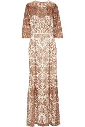 Marchesa Notte Metallic Embroidered Tulle Gown Ivory Metallic
