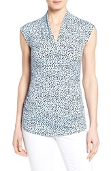 Women's Vince Camuto Print Side Ruched V Neck Top Tonic Water