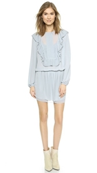 Bcbgmaxazria Kristey Ruffle Dress Blue Smoke
