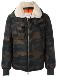 Moncler Camouflage Print Jacket Brown