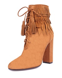 Aquazzura Woodstock Fringe Lace Up Bootie Cognac