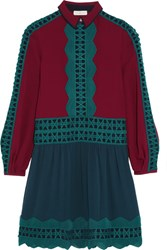 Tory Burch Brodie Lace Trimmed Silk Georgette Dress Burgundy