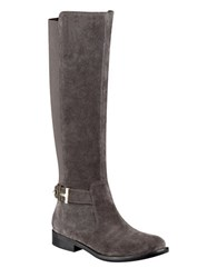 Tommy Hilfiger Suprem Suede And Textile Riding Boots Grey