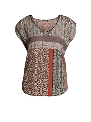 Morgan Multi Coloured Designer Pattern T Shirt Grey
