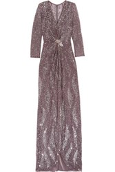 Jenny Packham Embellished Tulle Gown Gray