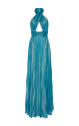 Elie Saab Pleated Wrapped Halter Neck Maxi Dress Blue