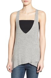 Junior Women's Bp. V Neck Racerback Tank Grey Cloudy Heather