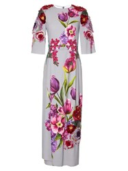 Dolce And Gabbana Floral Applique Print Dress Grey Multi
