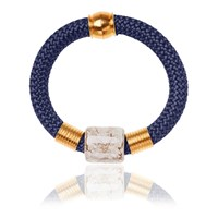 Iris Statement Bangle Bracelet Ceramic Stone Marble Blue