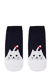 Forever 21 Cat Print Ankle Socks Navy White