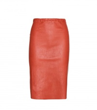 Stouls Gilda Leather Pencil Skirt Red