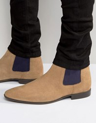 Asos Chelsea Boots In Stone Suede With Contrast Elastic Stone
