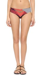 Giejo Low Rise Bikini Bottoms Red Aztec