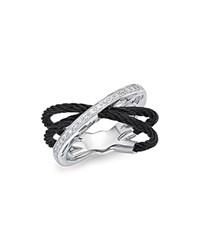 Alor Diamond Multi Band Cable Ring Black
