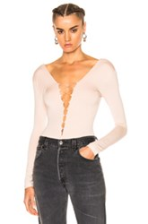 Alexander Wang T By Modal Spandex Lace Up Bodysuit In Pink