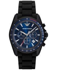 Emporio Armani Men's Chronograph Sigma Black Silicone Wrapped Stainless Steel Bracelet Watch 44Mm Ar6121 No Color