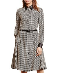 Ralph Lauren Houndstooth Print Silk Dress Black Cream