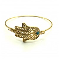 Zt Gold Hand Of Fatima Hamsa Bangle