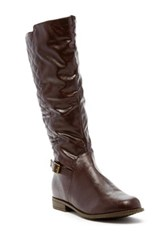 West Blvd Shoes Lahore Faux Leather Quilted Riding Boot Brown