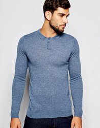 Asos Merino Wool Muscle Fit Long Sleeve Polo Riviera