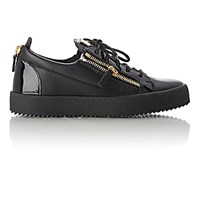 Giuseppe Zanotti Men's Patent Trimmed Double Zip Sneakers Black