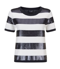 Armani Jeans Sequin Stripe Cropped Sweater