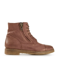 Silvano Sassetti Side Zip Lace Up Boots Brown