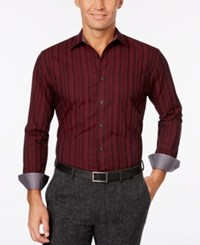 Tasso Elba Men's Striped Contrast Cuff Shirt Only At Macy's Vino Combo