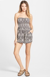 Billabong 'Just Pretend' Geo Print Romper Juniors Black White