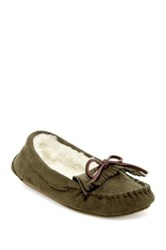 Gold Toe Faux Fur Moccasin Slipper Green