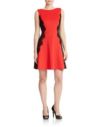 Betsy And Adam Lace Detail Fit Flare Dress Red Black