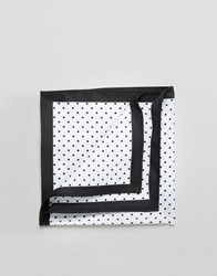 Asos Pocket Square With Polka Dot And Black Boarder White