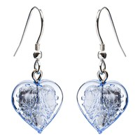 Martick Bohemian Glass Drop Earrings Silver Ice Blue